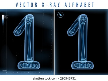 Vector 3D X-ray transparent alphabet use in logo or text. Number one 1