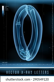 Vector 3D X-ray transparent alphabet use in logo or text. Letter O