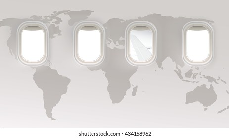 Vector 4 Blank window plane on world map background for travel concept, info graphic background.