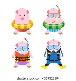 Vector 4 Cute Cartoon Pigs in Summer Clothes for Sea Travel