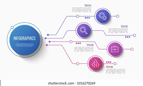 Vector 4 options infographic design, structure chart, presentation template. Editable stroke and global swatches.
