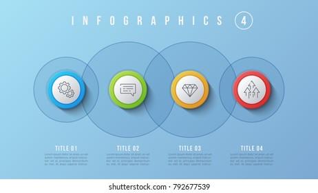 venn diagram circles infographics template design のベクター画像