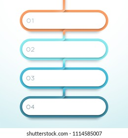 Vector 4 Step Colorful 3d Shapes List Infographic