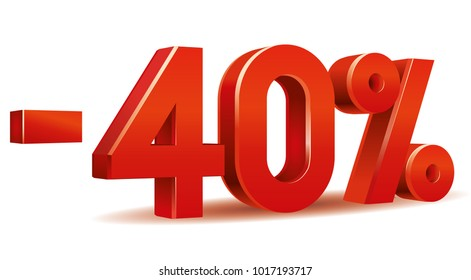 Vector of -40 percent in white background