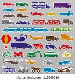 Vector. 40 transportation icons.