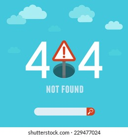 Vector 404 error page template - illustration in flat style - page not found on website