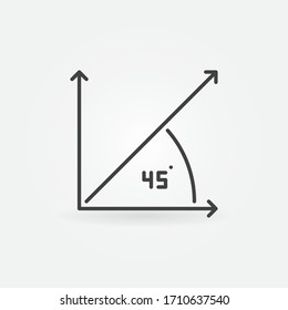 Vector 45-degrees concept minimal icon or logo element in thin line style