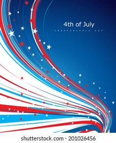 Vector 4th of july american independence day flag celebration line wave background illustration