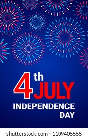 Vector 4th July Independence Day template with festive fireworks
