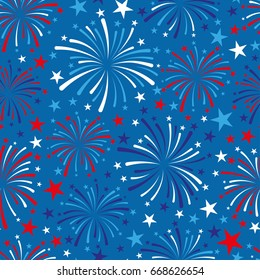 vector 4th of July seamless pattern with fireworks. EPS