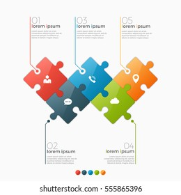 Vector 5 options infographic template with puzzle sections for presentations, advertising, layouts, annual reports