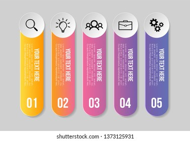 Vector 5 Options and steps Infographics Template Design. Business Data Visualization Timeline with Marketing Icons most useful can be used for presentation, diagrams, annual reports, workflow layout