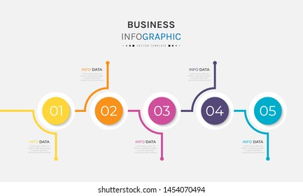 Vector 5 options and steps Infographics Template Design. Business data visualization timeline template design.