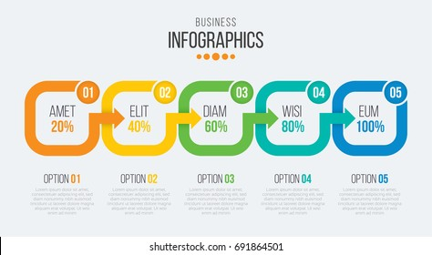Vector 5 steps timeline infographic template with arrows. Vector illustration
