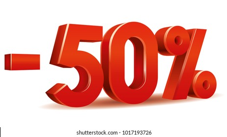 Vector of -50 percent in white background