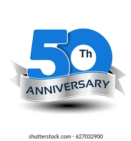 Vector 50 years anniversary, blue number with silver ribbon