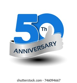 Vector 50 years anniversary, blue number with silver ribbon - thumb up, hand gesture, symbol of best choice
