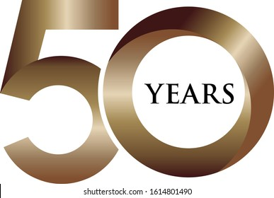 Vector | 50 Years Logo in Golden Colour | Celebrating Fifty Years Logo.