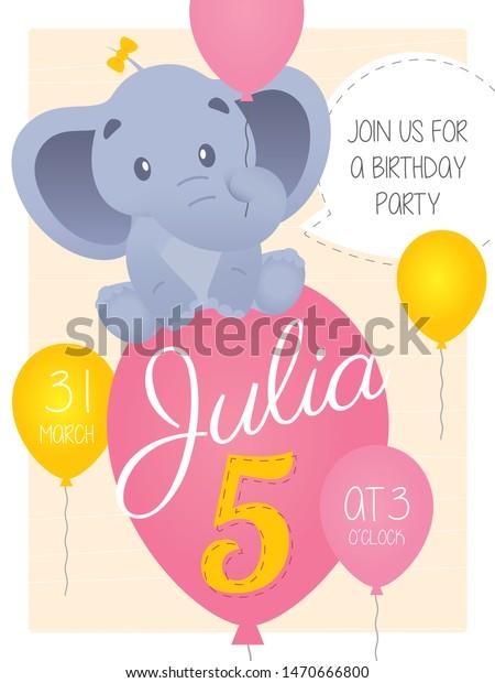 Vector 5th Birthday Party Invitation Card Stock Vector