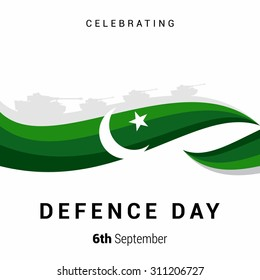 Vector 6 September Defence Day typography with Green abstract lines  background with moon. Pakistan Defense