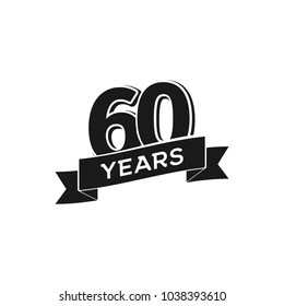 Vector 60 years anniversary logotype. Isolated black logo 60th jubilee on white background