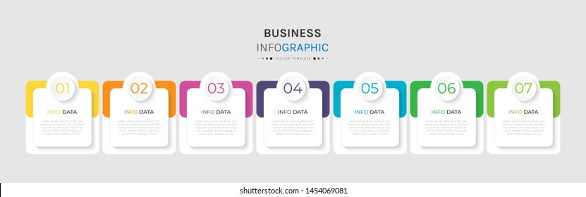 Vector 7 options and steps Infographics Template Design. Business data visualization timeline template design.
