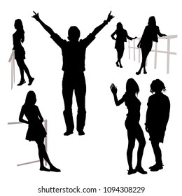 Vector 7 silhouettes of people of different sex in full growth group of man lifted hands cheerful greeting girl waving hand girl leans on railing stands sideways on white background contours of people