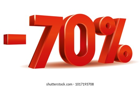 Vector of -70  percent in white background