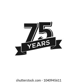 Vector 75 years anniversary logotype. Isolated black logo 75th jubilee on white background