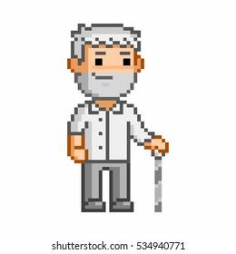 Vector 8 bit pixel art elderly man on white background.