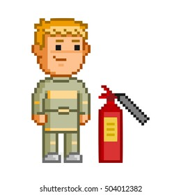 Vector 8 bit pixel firefighters on white background.