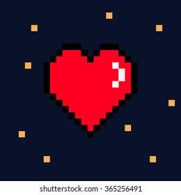 Vector 8 bit pixel red heart Valentines Day retro card