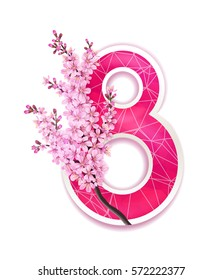 Vector 8 march greeting card with branch of blossom sakura japan cherry flowers and cut out paper pink number eight isolated on white background