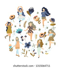 Vector 8 march. International Women's Day. Vector template with lettering design, flowers and woman. Vector illustration