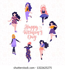 Vector 8 march. International Women's Day. Vector template with lettering design and woman. Vector illustration