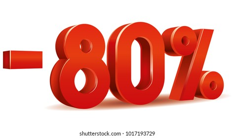 Vector of -80 percent in white background