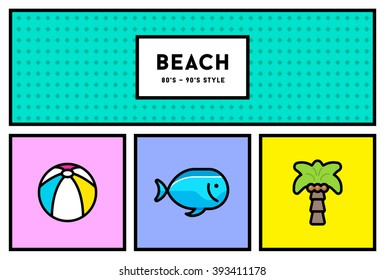 Vector 80's or 90's Stylish Icon Set with Retro Colours