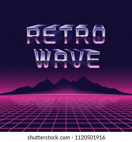 Vector 80s retro futuristic illustration. Retrowave concept, laser grid and mountains