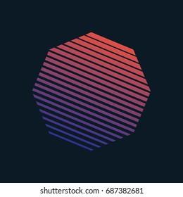Vector 80s Retro Style Striped Shape. Minimalism Art Illustration