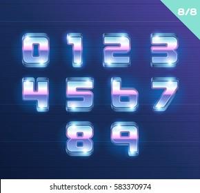 Vector 80's style metallic alphabet.