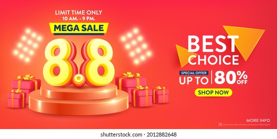 Vector of 8.8 Shopping day Poster or banner with 8 over on product podium scene.8 August sales banner template design for social media and website.Special Offer Sale 80% Off campaign or promotion.
