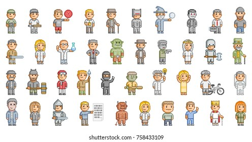 Vector 8-bit pixel art people set for video game and design on white background.