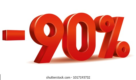 Vector of -90 percent in white background