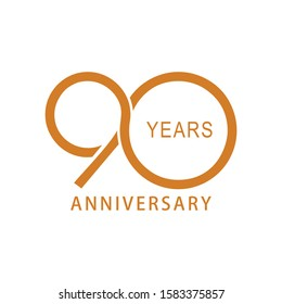 Vector 90 year anniversary, birthday logo label. Year. Vector illustration. Isolated against a white background.