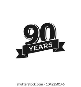 Vector 90 years anniversary logotype. Isolated black logo 90th jubilee on white background