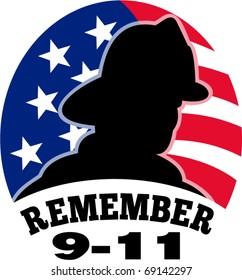 vector 9-11 911 fireman firefighter American flag stars and stripes 9/11 remember September 11 illustration artwork silhouette