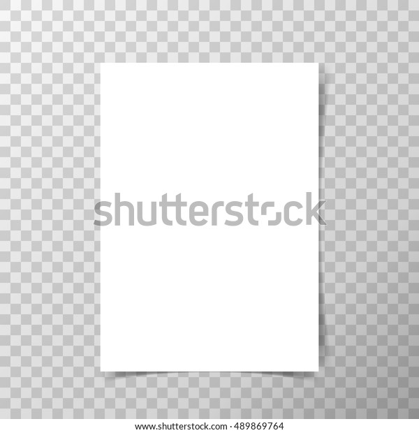Vector A4 format paper with shadows on transparent background.