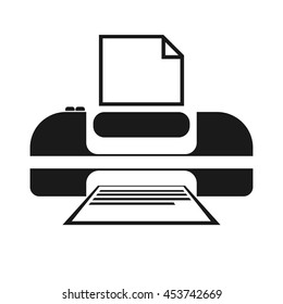 Vector A4 printer icon to print out the text, isolated on white background. For graphic and web design.