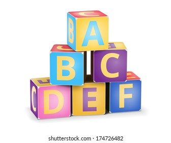 Vector A,B,C letters on pyramid stack alphabet cubes on white