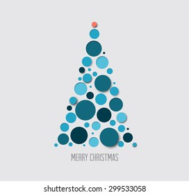 Vector absract christmas tree card made from blue circles